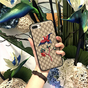 GUCCI iphone7s plusケース 刺繍 鳥